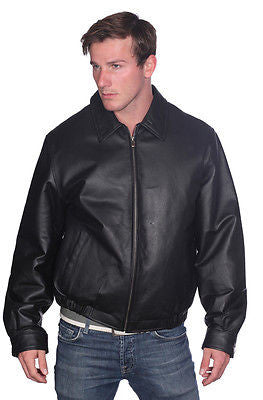 MEN'S BLK CLASSIC BOMER LEATHER JACKET WITH ELASTICS OPEN BOTTOM VERY SOFT