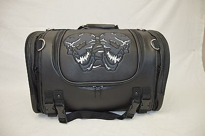 MOTORCYCLE NYLON TRUNK SKULL SISSY T BAR BAG TRAVEL PLAIN LUGGAGE NEW BLACK