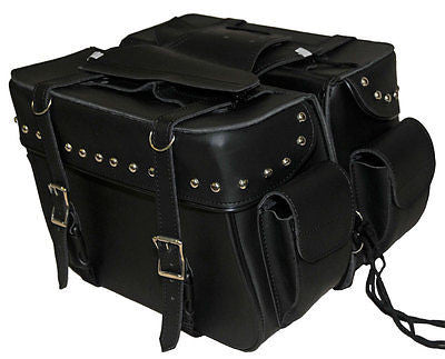 MOTORCYCLE SADDLEBAG STUDDED TWO STRAP SIDE POCKETS SIZE LARGE ZIP OFF BAG NEW