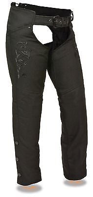 Motorcycle women's light weight textile blk reflective wing and detailing chap
