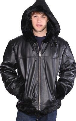 MEN'S BOMER FUR LINNING REALLEATHER JACKET WITH REMOVABLE HOOD VERY SOFT LEATHER