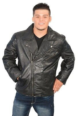 MEN'S CLASSIC TERMINATOR STYLE LEATHER JACKET W/DIAGONAL ZIP GREAT PRICE