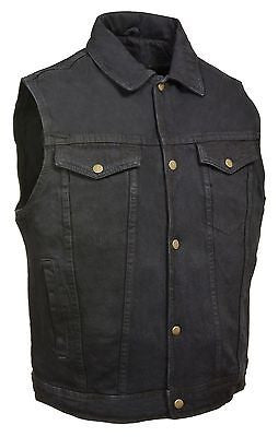 MEN'S JEAN STYLE W/SHIRT COLLAR BLACK DENIM MOTORCYCLE VEST 2 GUN POCKET INSIDE