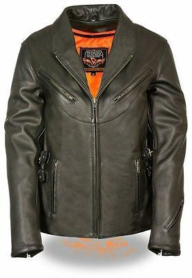 WOMEN'S BLACK MOTORCYCLE LEATHER UPDATED VENTED JACKET W/SIDE BUCKLE COWHIDE