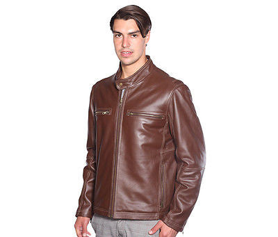 CLASSIC MOTORCYCLE SCOOTER JACKET WITH CONTRAST LINING COW LEATHER DURABLE NEW