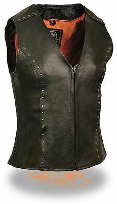 WOMEN'S MOTORCYCLE SEXY RIDING BLACK LEATHER VEST W/ STUDS AND CENTER ZIPPER
