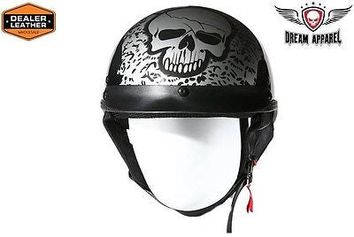 MOTORCYCLE BRAND NEW DOT APPROVED HALF HELMET BONEYARD SILVER GRPHIC NEW