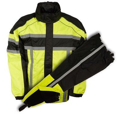 MOTORCYCLE MOTORBIKE RAIN GEAR MEN'S RAIN SUIT BLK&NEON GREEN WATERRESISTANT