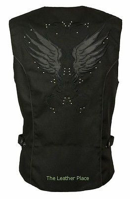 WOMEN'S MOTORCYCLE RIDING BLACK TEXTILE VEST W/ STUD & WINGS DETAILING