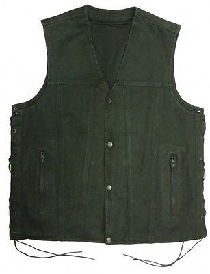 MEN'S MOTORBIKE SIDE LACE BLK DENIM CLUB VEST W/4 SNAP BUTTONS & 2 GUN POCKETS