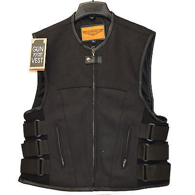 MEN'S BIKER UPDATED BLACK SWAT TEAM STYLE CANVAS MOTORCYCLE VEST W/2GUN POCKETS