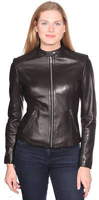 WOMEN'S GENUINE LEATHER JACKET W/CHINESE COLLAR BUTTER SOFT WITH FRONT ZIPPER