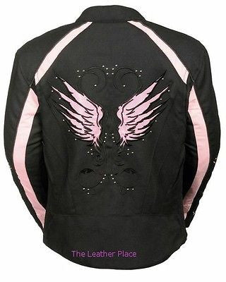 WOMEN'S MOTORCYCLE RIDING PINK TEXTILE JACKET W/ STUD & WINGS DETAILING