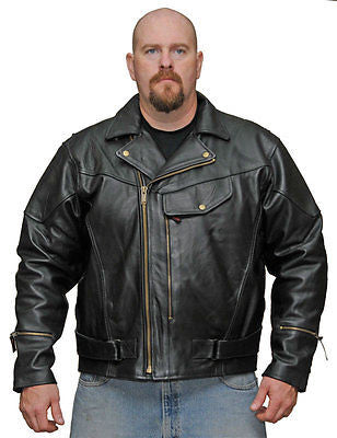 MEN'S MOTORCYCLE MOTORBIKE COW HIDE LEATHER JACKET WITH PISTOL PETE GUN POCKET