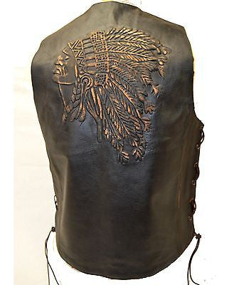 MEN'S MOTORCYCLE SIDE LACE RETRO BRN NATIVE AMERICAN EMBOSSED SINGLE PANEL
