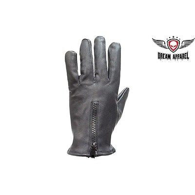 LADIES UNLINED DRIVING GLOVES VERY SOFT LEATHER W/ZIPPER BLACK