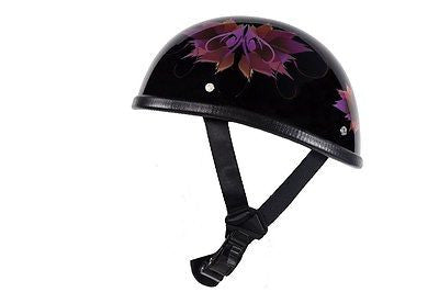 MOTORCYCLE SHINY DOT APPROVED BLK FINISH W/FAIRY & TRIBAL FLOWERS GRAPHIC HELMET