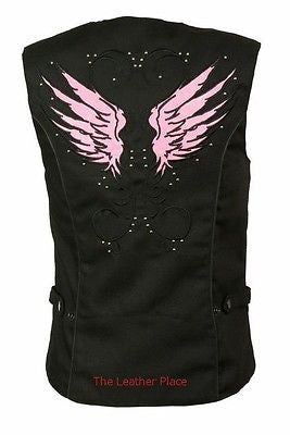 WOMEN'S MOTORCYCLE RIDING PINK TEXTILE VEST W/ STUD & WINGS DETAILING
