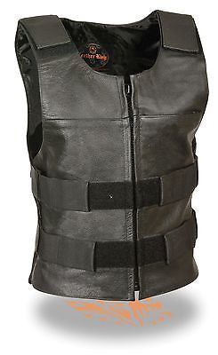 WOMEN'S MOTORCYCLE BULLETPROOF ZIPPER FRONT REPLICA BUFFALO LEATHER VEST BLACK