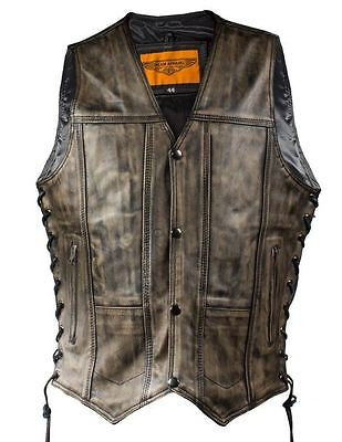 MEN'S MOTORCYCLE RIDERS 10 POCKET DISTRESSED BRN LEATHER VEST SIDE LACES LIGHT