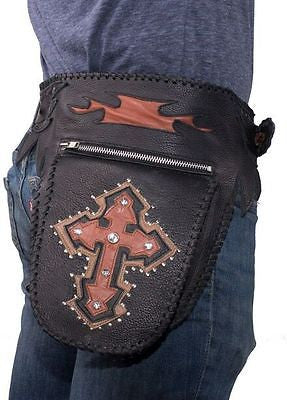 MOTORCYLE RIDING GENUINE LEATHER WAIST BAG WITH LEATHER CROSS BLING & STUDS