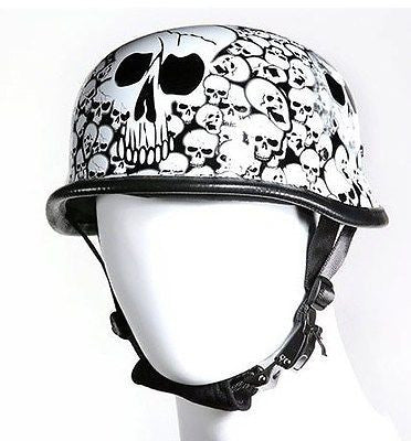 Motorcycle riders German White Skull Graveyard novelty helmet