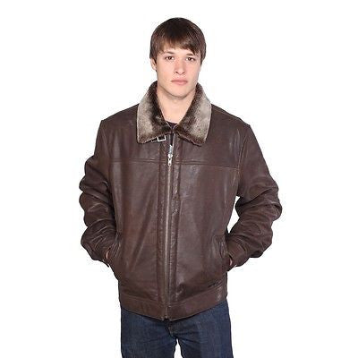 MEN'S AVIATOR LEATHER NEW ZEALAND LAMB JACKET WITH FULLY LINED FUR NEW