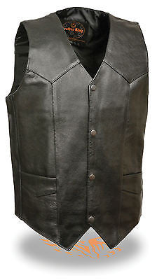 MEN'S RIDERS CLASSIC PLAIN BIKER VEST WITH SNAP BUTTONS WITH V NECK UPTO SIZE 74