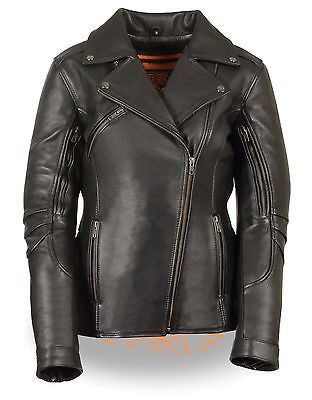 WOMEN'S MOTORCYCLE FITTED BELTLESS M/C POLICE JACKET LONG LENGTH VENTED