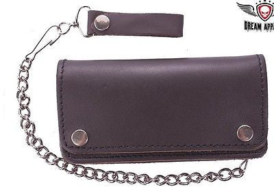 MEN'S MOTORCYCLE BROWN BIKER BIFOLD LEATHER SILVER CHAIN WALLET NEW