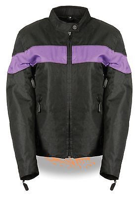 LADIES BLK/PURPLE LIGHTWEIGHT TEXTILE W/REFLECTIVE PIPING JACKET ZIPOUTLINER