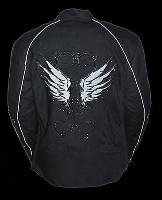 WOMEN'S MOTORCYCLE BLK TEXTILE JACKET W/ STUD & WINGS DETAILING W/2GUNPOCKETS