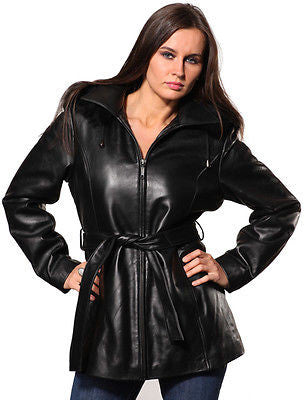 WOMEN'S MID-LENGTH PARKA GENIUNE LEATHER REMOVABLE LINING & HOOD WITH BELT