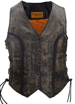 WOMEN'S MOTORCYCLE DISTRESSED/BRN CLASSIC BRAIDED BIKER VEST WITH LACES