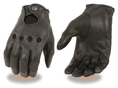 MEN'S PEFORATED UNLINED DRIVING GLOVES REAL LEATHER WITH SNAP CLOSE WRIST BLK