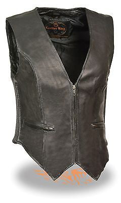 MOTORCYCLE MOTORBIKE LADIES LEATHER VEST WITH SIDE ELASTIC GREAT QUALITY NEW