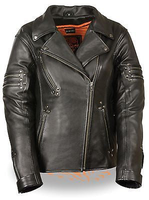 WOMEN'S MOTORCYCLE FITTED BELTLESS M/C POLICE JACKET W/RIVET DETAILING