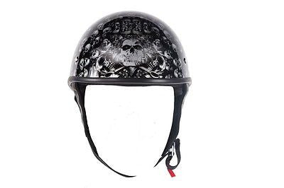 Motorcycle Shiny Blk/Gloss Finish DOT approved Skull Graphic helmet