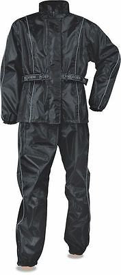 MOTORCYCLE MOTORBIKE MEN'S RAIN SUIT WATERPROF LIGHTWEIGHT BLK WITH HUDDY