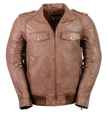MEN'S CLASSIC BOMER BRN POLICE STYLE LEATHER JACKET WITH ELASTICS GREAT PRICE