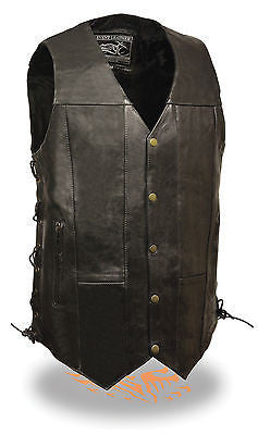 "Men's Motorcycle Blk 10 Pocket Tall Extra 3"" Long leather vest with 2 gun pockets"