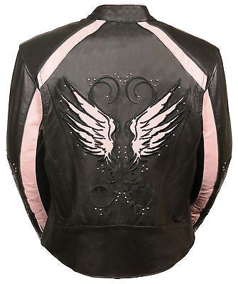 Women's Blk Pink Leather Jacket with studs and wings detailing back