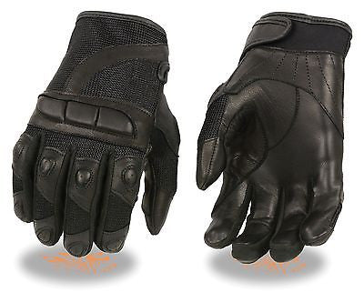 WOMEN'S GENUINE MESH/LEATHER COMBO RACING GLOVE W/PADDED KNUCLES PROTECTION SOFT