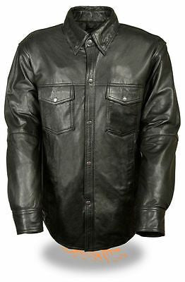 MOTORCYCLE MEN'S LIGHTWEIGHT LONG SLEEVE LEATHER BLK SHIRT 5 SNAP BUTTONS