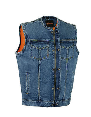 MEN'S SON OF ANARCHY BLUE DENIM COLLARLESS VEST 2 GUN POCKETS W/HOLSTERS ZIPPER