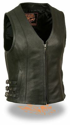 WOMEN'S MOTORCYCLE RIDING SWAT SEXY LEATHER VEST W/SIDE BUCKLES NEW