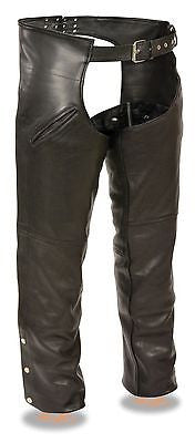 MEN'S MOTORYCLE SLASH POCKET CHAP W/REMOVABLE SNAP OUT LINER VERY SOFT LEATHER