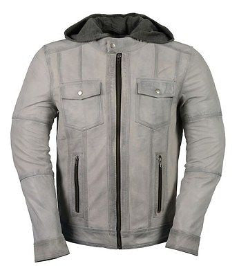 MEN'S CLASSIC SCOOTER GENUINE GREY LEATHER JACKET TWO CHEST POCKETS WITH HUDDY