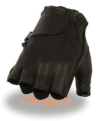 MEN'S FINGERLESS W/GEL PALM & VELCRO FLAP VERY SOFT LEATHER BLACK FULL PANEL
