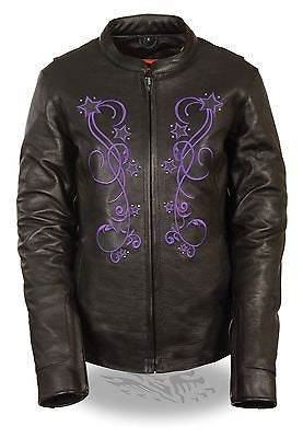 WOMEN'S MOTORCYCLE PURPLE REFLECTIVE STAR JACKET W/RIVET DETAILING WITH VENTS